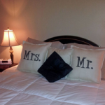"Burlap and Sharpie ""Mr."" and ""Mrs."" Pillows"