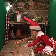 """In the Workshop"" Elf. Step-by-step instructions to create this elf theme on our site, plus lots more elf ideas. #elfontheshelf #organizedchaosonline"
