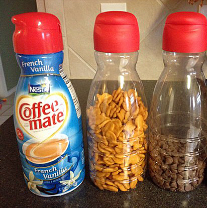 Tip Of The Day: Remove wrap from Coffee Mate and Use as Storage {Organized CHAOS Online}