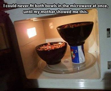 fit two bowls in the microwave