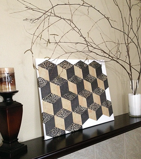 "DIY ""Tumbling Blocks"" Wall Art {OrganizedCHAOSOnline}"