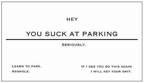 You Suck Parking Card Organizedchaosonline