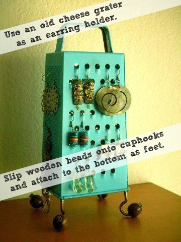 TIP OF THE DAY: Use a grater as an earring holder | organizedCHAOSonline