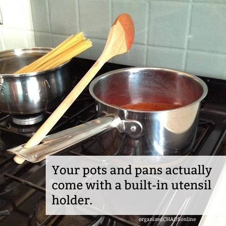 TIP OF THE DAY: Using Pots and Pan Handles as Utensil Holders | organizedCHAOSonline