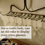 Use a Rake to Display Wine Glasses