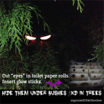"Cut ""eyes"" in Toilet Paper Rolls for Halloween"