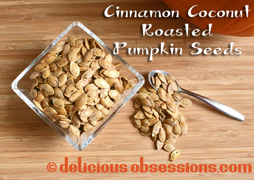 cinnamon coconut roasted pumpkin seeds by delicious obsessions