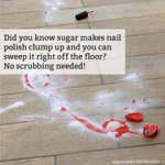 Sugar on Spilled Nail Polish for Easy Removal | TIP OF THE DAY on organizedCHAOSonline
