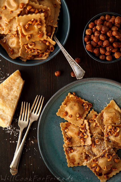 Pumpkin Ravioli with Hazelnut Brown Butter Sauce and Balsamic Drizzle | 89 days of pumpkin | Will Cook for Friends