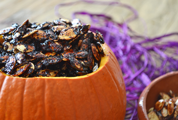 sweet and sticky sriracha roasted pumpkin seeds by cook the story