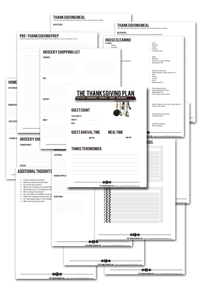 Thanskgiving Plan Worksheets