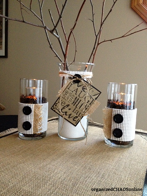 Burlap, Shelf Liner and Buttons Candle Wrap Tutorial | Easy Last-Minute Thanksgiving Decor | organizedCHAOSonline