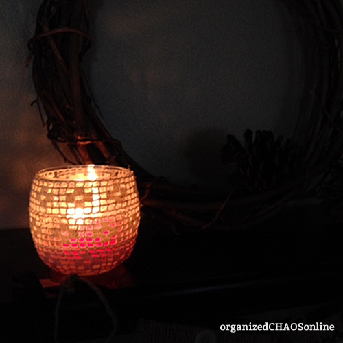 Lace Covered Candle Votive | Easy Last-Minute Thanksgiving Decor | organizedCHAOSonline