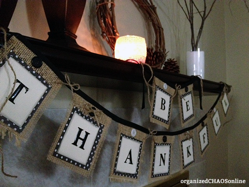 Burlap Mantle Banner Tutorial | Easy Last-Minute Thanksgiving Decor | organizedCHAOSonline