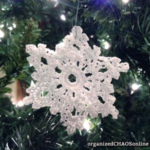 Snowflake #1: 5 Crochet Glitter Snowflakes with instructions   organizedCHAOSonline