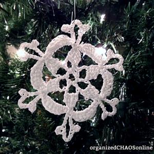 Snowflake #2: 5 Crochet Glitter Snowflakes with instructions   organizedCHAOSonline