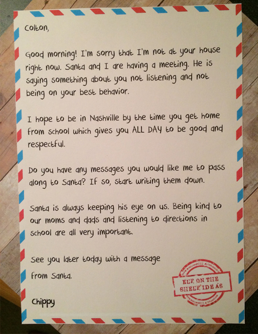 Letter from elf to naughty kid free printable organizedchaosonline letter to colton from chippy spiritdancerdesigns