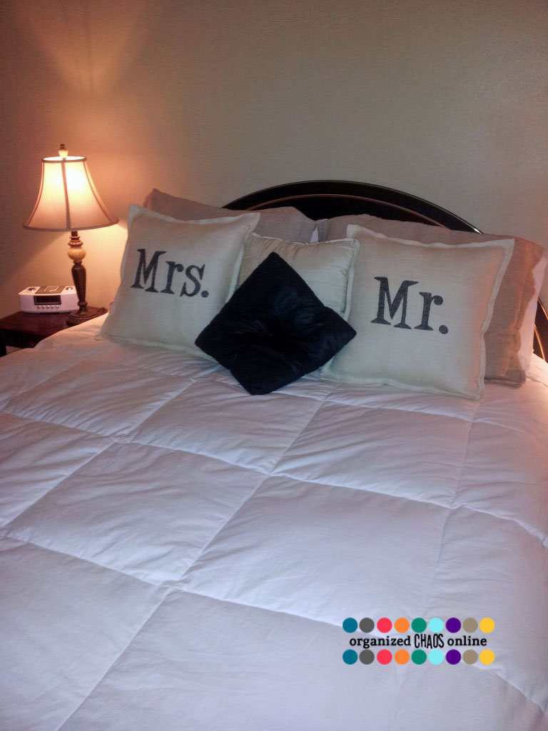 Burlap And Sharpie Mr And Mrs Pillows Organizedchaosonline