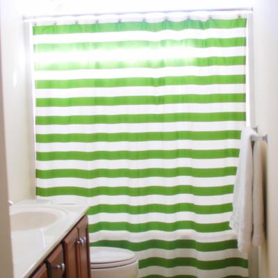 Green Striped Diy Shower Curtain