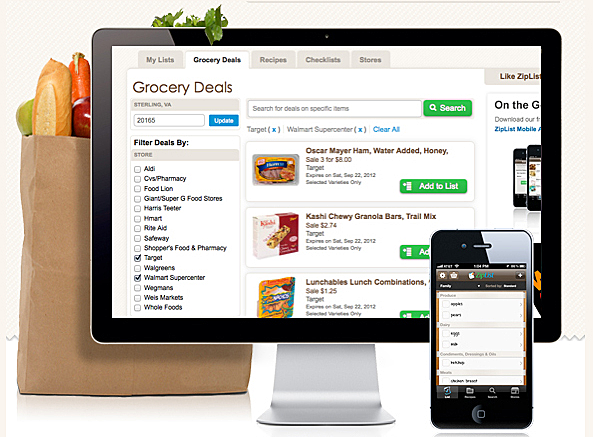 save recipes create a grocery list get store specials ziplist