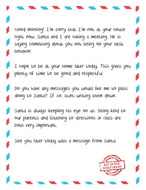 photograph relating to Elf on the Shelf Letter Printable named Letter Against Elf toward Naughty Little one [Totally free Printable